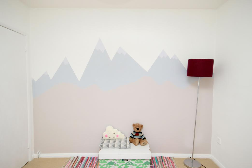 DIY video - How to paint a mountain mural wall for a child's nursery